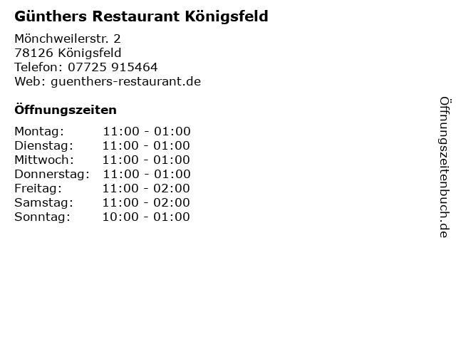 Günthers Restaurant Königsfeld in Königsfeld: Adresse und Öffnungszeiten