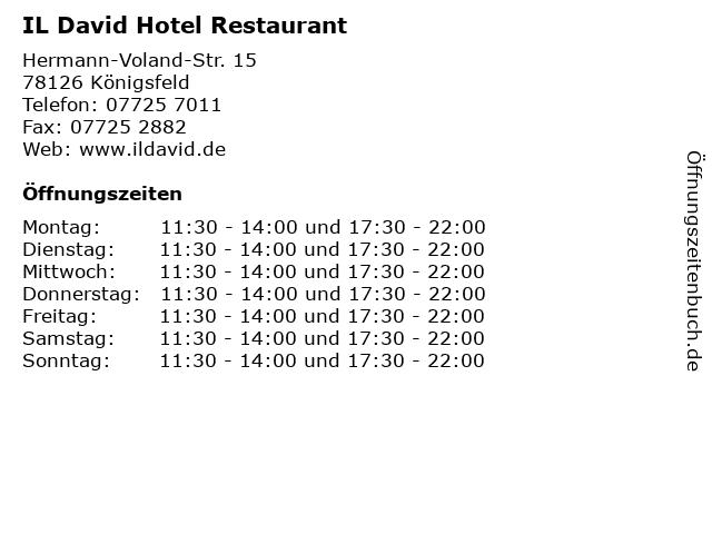 IL David Hotel Restaurant in Königsfeld: Adresse und Öffnungszeiten