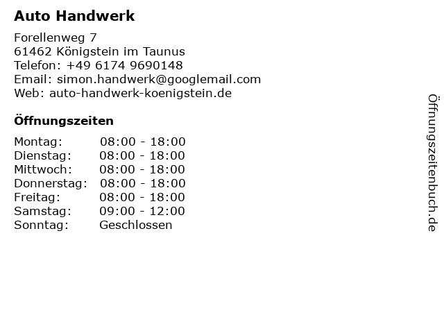Auto Handwerk in Königstein im Taunus: Adresse und Öffnungszeiten