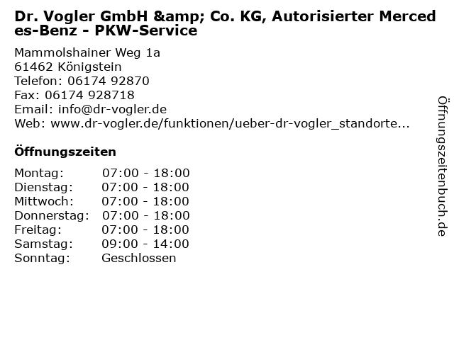 Dr. Vogler GmbH & Co. KG, Autorisierter Mercedes-Benz - PKW-Service in Königstein: Adresse und Öffnungszeiten