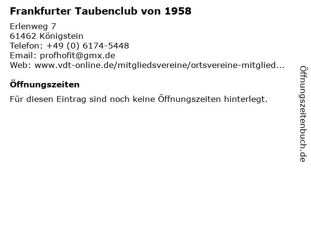 Frankfurter Taubenclub von 1958 in Königstein: Adresse und Öffnungszeiten