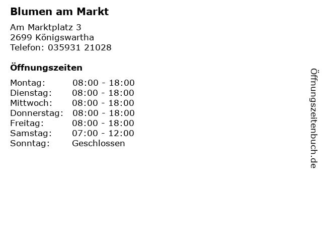 Blumen am Markt in Königswartha: Adresse und Öffnungszeiten