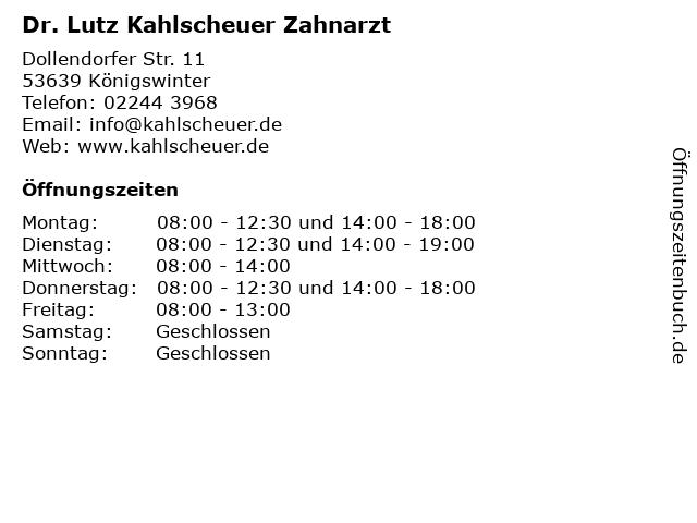 Dr. Lutz Kahlscheuer Zahnarzt in Königswinter: Adresse und Öffnungszeiten