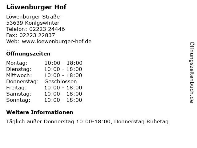 Löwenburger Hof in Königswinter: Adresse und Öffnungszeiten