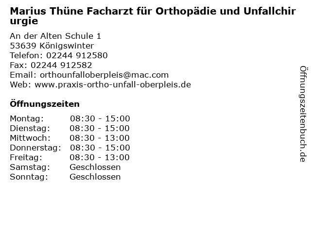 Marius Thüne Facharzt für Orthopädie und Unfallchirurgie in Königswinter: Adresse und Öffnungszeiten