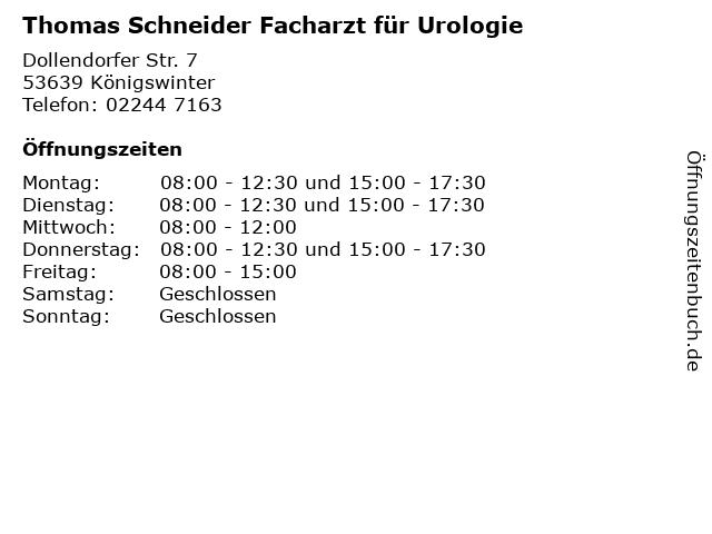 Thomas Schneider Facharzt für Urologie in Königswinter: Adresse und Öffnungszeiten