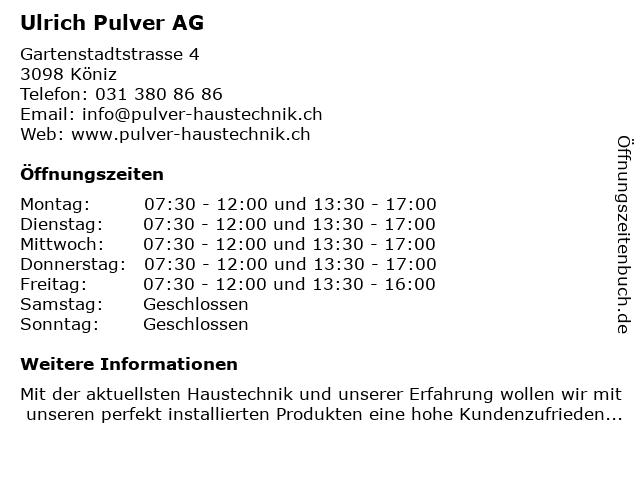 Pulver Ulrich AG in Köniz: Adresse und Öffnungszeiten