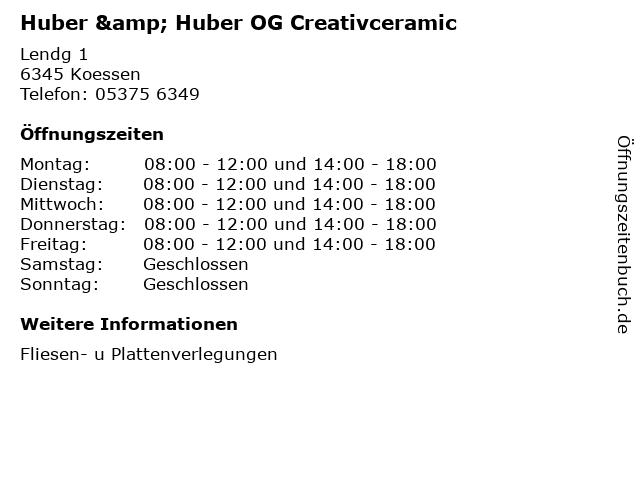 Huber & Huber OG Creativceramic in Koessen: Adresse und Öffnungszeiten