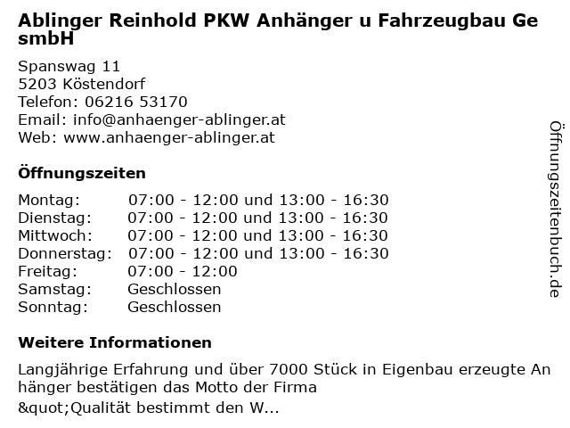 Ablinger Reinhold PKW Anhänger u Fahrzeugbau GesmbH in Köstendorf: Adresse und Öffnungszeiten