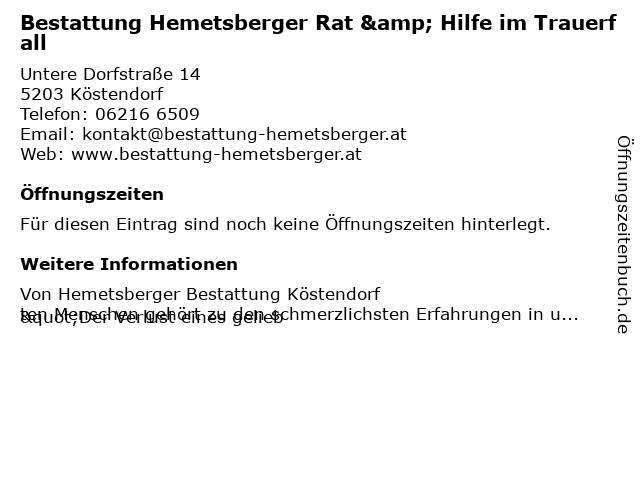 Bestattung Hemetsberger Rat & Hilfe im Trauerfall in Köstendorf: Adresse und Öffnungszeiten