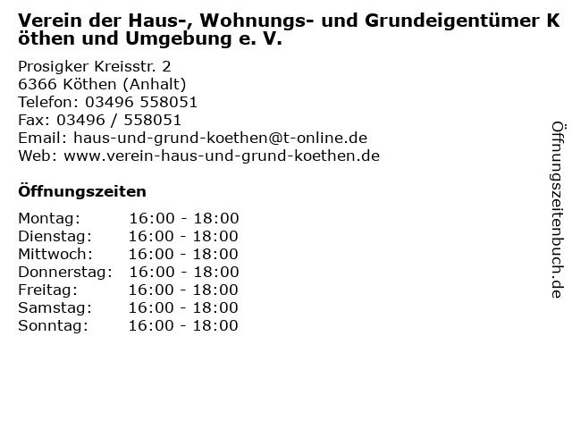 Verein der Haus-, Wohnungs- und Grundeigentümer Köthen und Umgebung e. V. in Köthen (Anhalt): Adresse und Öffnungszeiten