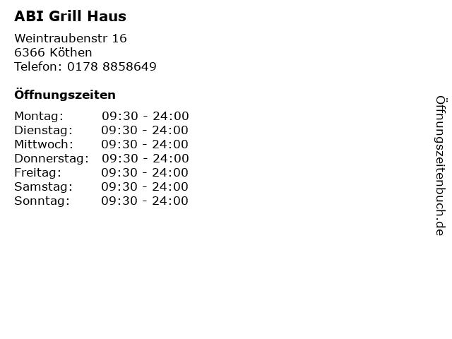 ABI Grill Haus in Köthen: Adresse und Öffnungszeiten