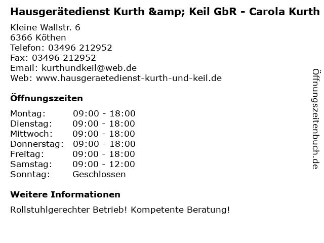 Hausgerätedienst Kurth & Keil GbR - Carola Kurth in Köthen: Adresse und Öffnungszeiten
