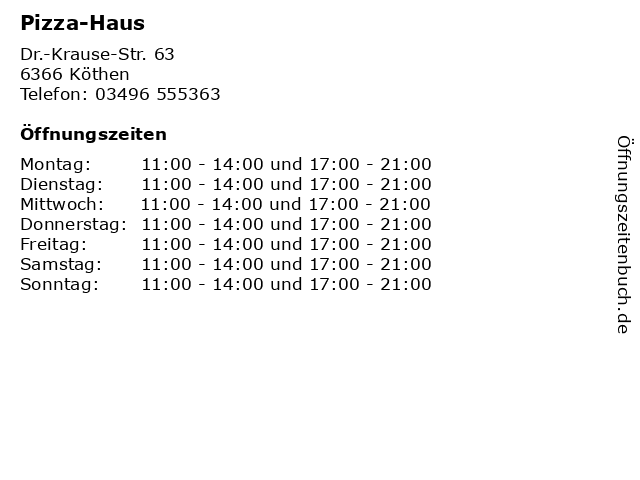 Pizza-Haus in Köthen: Adresse und Öffnungszeiten