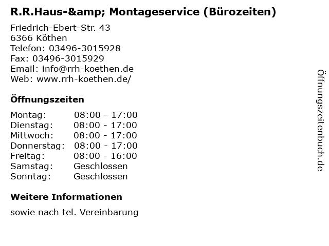 R.R.Haus-& Montageservice (Bürozeiten) in Köthen: Adresse und Öffnungszeiten