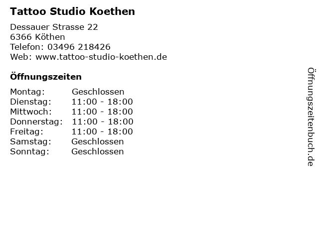 Tattoo Studio Koethen in Köthen: Adresse und Öffnungszeiten