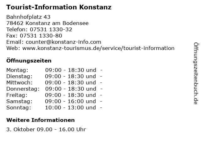 Tourist-Information Konstanz in Konstanz am Bodensee: Adresse und Öffnungszeiten