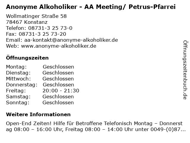 Anonyme Alkoholiker - AA Meeting/ Petrus-Pfarrei in Konstanz: Adresse und Öffnungszeiten