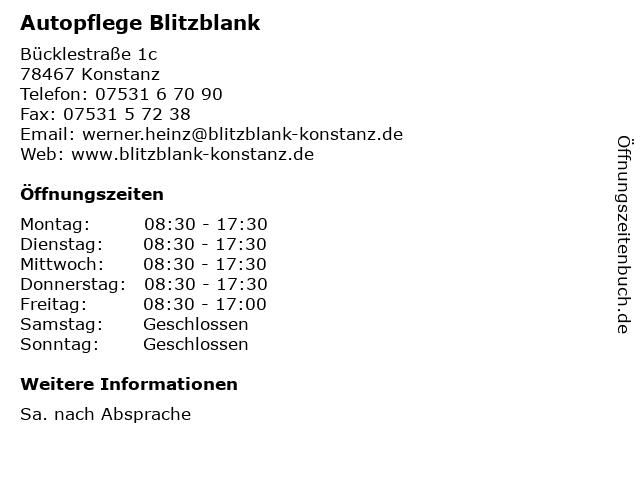 Autopflege Blitzblank in Konstanz: Adresse und Öffnungszeiten