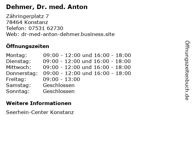 Dehmer, Dr. med. Anton in Konstanz: Adresse und Öffnungszeiten