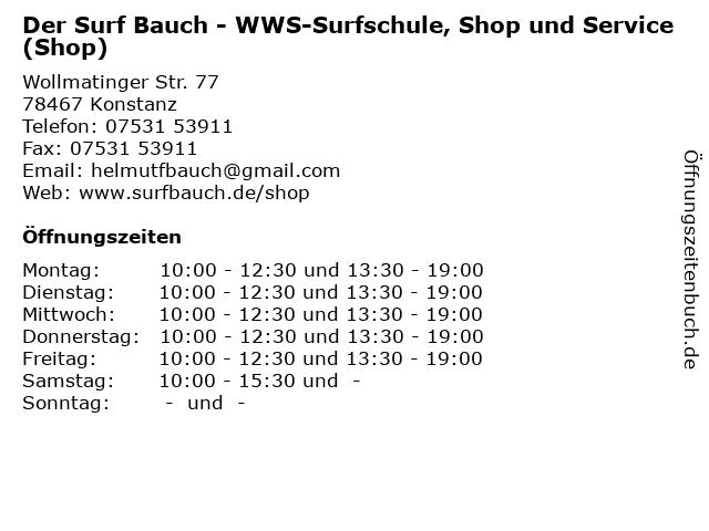 Der Surf Bauch - WWS-Surfschule, Shop und Service (Shop) in Konstanz: Adresse und Öffnungszeiten