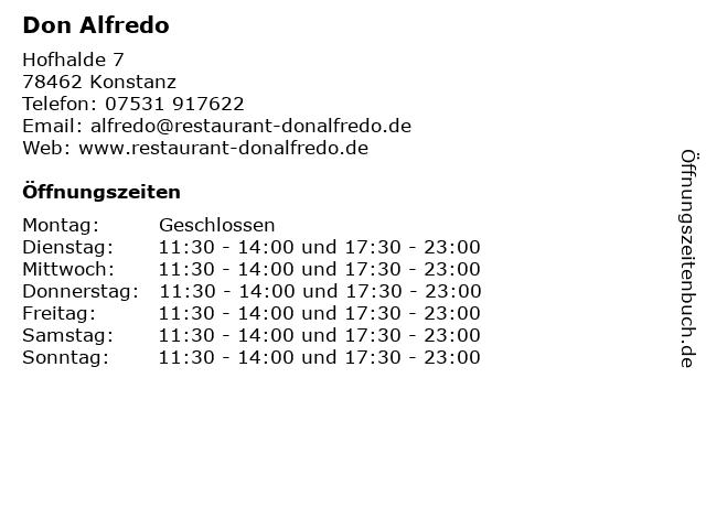 Don Alfredo in Konstanz: Adresse und Öffnungszeiten