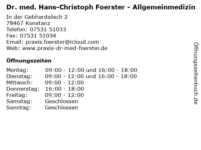 Dr. med. Hans-Christoph Foerster - Allgemeinmedizin in Konstanz: Adresse und Öffnungszeiten