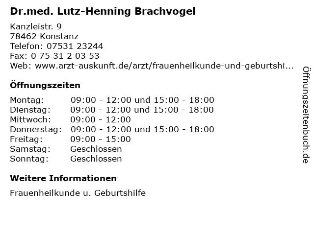 Dr.med. Lutz-Henning Brachvogel in Konstanz: Adresse und Öffnungszeiten