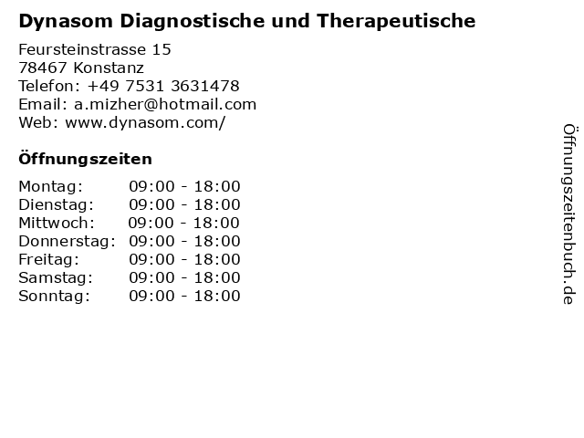 Dynasom Diagnostische und Therapeutische in Konstanz: Adresse und Öffnungszeiten