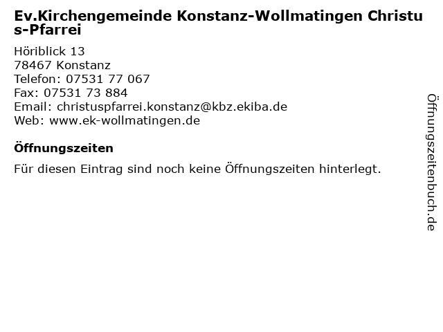 Ev.Kirchengemeinde Konstanz-Wollmatingen Christus-Pfarrei in Konstanz: Adresse und Öffnungszeiten