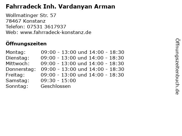 Fahrradeck Inh. Vardanyan Arman in Konstanz: Adresse und Öffnungszeiten
