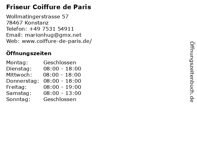 Friseur Coiffure de Paris in Konstanz: Adresse und Öffnungszeiten