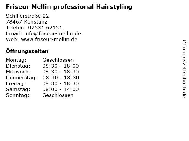 Friseur Mellin professional Hairstyling in Konstanz: Adresse und Öffnungszeiten