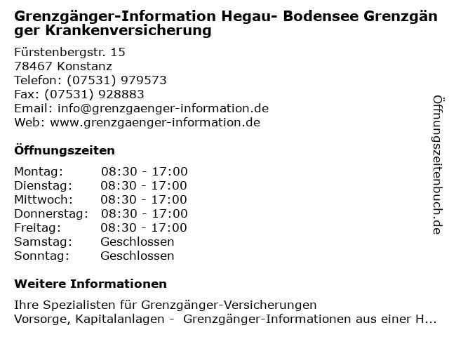 Grenzgänger-Information Hegau- Bodensee Grenzgänger Krankenversicherung in Konstanz: Adresse und Öffnungszeiten