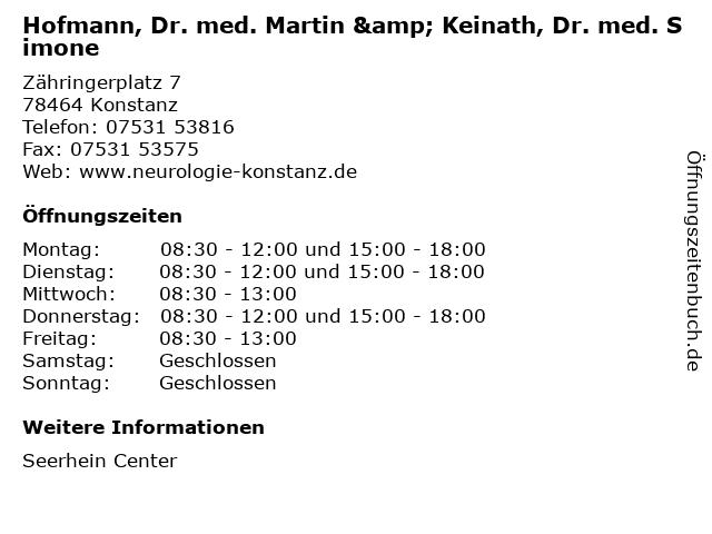 Hofmann, Dr. med. Martin & Keinath, Dr. med. Simone in Konstanz: Adresse und Öffnungszeiten