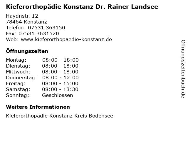 Kieferorthopädie Konstanz Dr. Rainer Landsee in Konstanz: Adresse und Öffnungszeiten