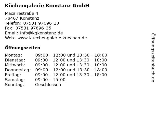 ᐅ Offnungszeiten Kuchengalerie Konstanz Gmbh Macairestrasse 4 In
