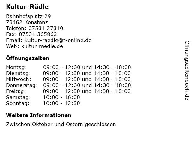 Kultur-Rädle in Konstanz: Adresse und Öffnungszeiten