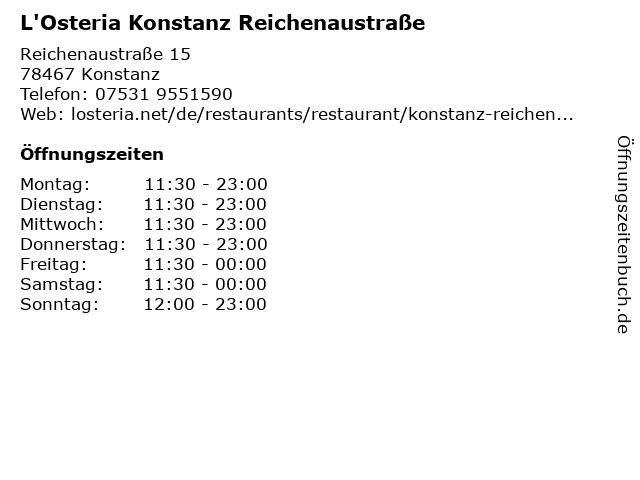 L'Osteria Konstanz Reichenaustraße in Konstanz: Adresse und Öffnungszeiten