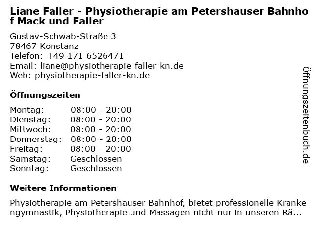 Liane Faller - Physiotherapie am Petershauser Bahnhof Mack und Faller in Konstanz: Adresse und Öffnungszeiten