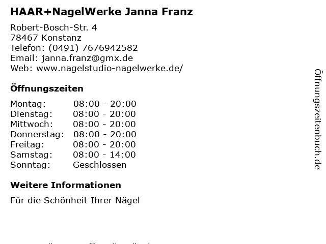 NagelWerke Janna Franz in Konstanz: Adresse und Öffnungszeiten
