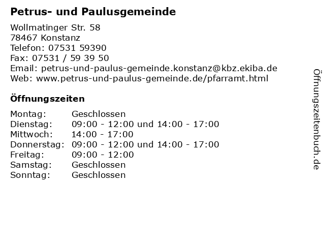 Petrus- und Paulusgemeinde in Konstanz: Adresse und Öffnungszeiten