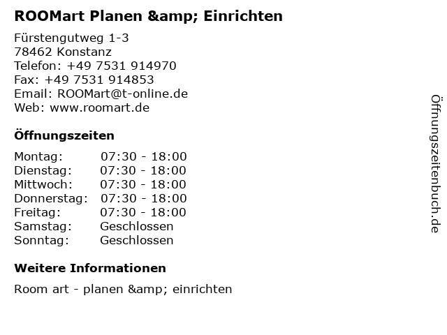 ROOMart Planen & Einrichten in Konstanz: Adresse und Öffnungszeiten