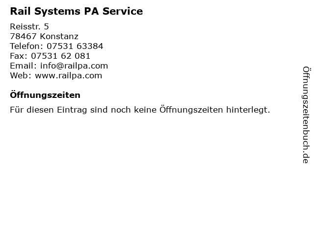 Rail Systems PA Service in Konstanz: Adresse und Öffnungszeiten