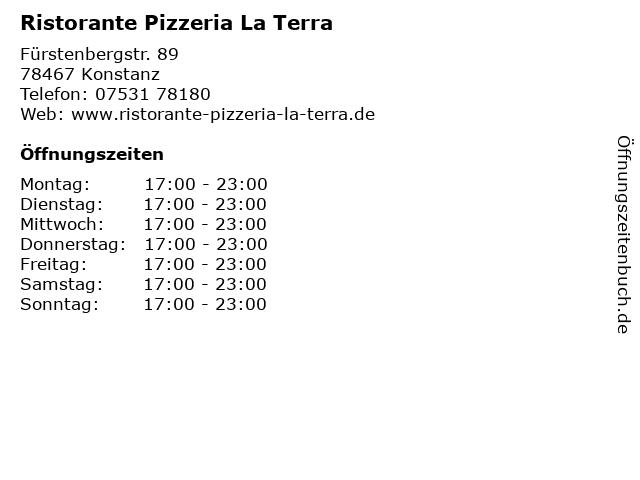 Ristorante Pizzeria La Terra in Konstanz: Adresse und Öffnungszeiten
