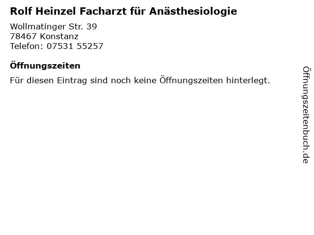 Rolf Heinzel Facharzt für Anästhesiologie in Konstanz: Adresse und Öffnungszeiten