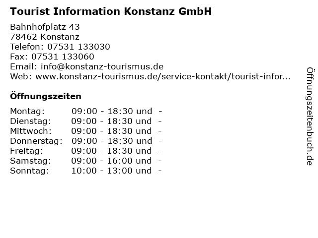 Tourist Information Konstanz GmbH in Konstanz: Adresse und Öffnungszeiten