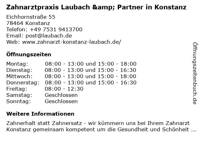 Zahnarztpraxis Laubach & Partner in Konstanz in Konstanz: Adresse und Öffnungszeiten