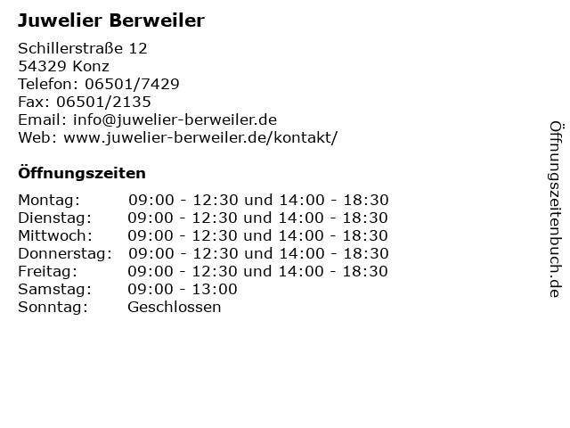 Juwelier Berweiler in Konz: Adresse und Öffnungszeiten