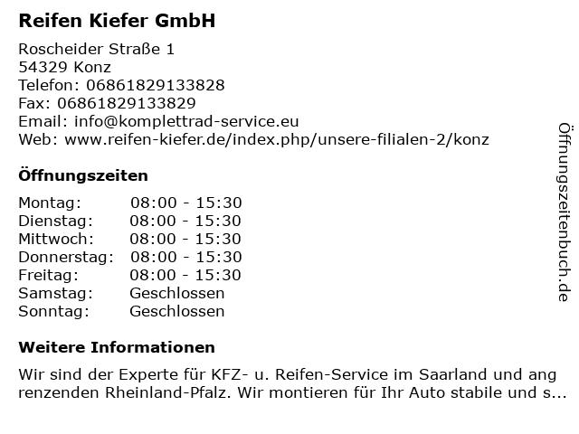 Reifen Kiefer GmbH in Konz: Adresse und Öffnungszeiten